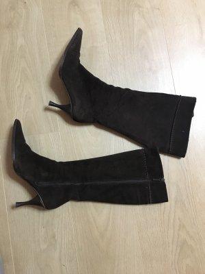 Zara Lederstiefel Stiefel Leder dunkelbraun Spitzeschuhe