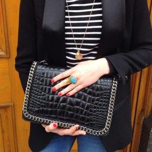 Zara Ledertasche mit Kette | schwarz-silber