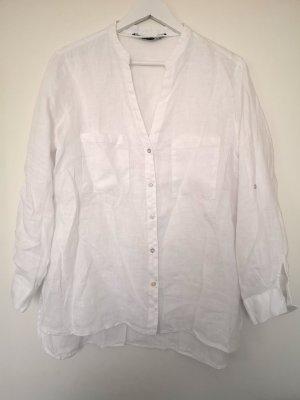 ZARA Leinen Bluse mit Taschen und V-Ausschnitt in weiß, Gr. XL