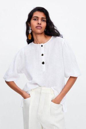 Zara Blouse en lin crème-blanc cassé lin