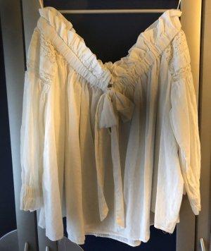Zara Woman Blusa tipo Carmen blanco Lino