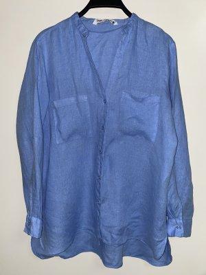 Zara Leinen Hemd Bluse blau M 38
