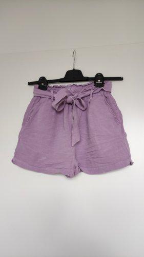 Zara Leinen Linen Shorts Highwaist mit Gürtel, XS/S, Flieder Lilac Mauve, Stylisch Insta