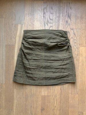 Zara Lniana spódnica oliwkowy