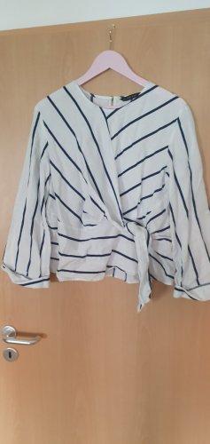 Zara Lniana bluzka biały-ciemnoniebieski