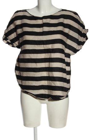 Zara Leinenbluse schwarz-creme Streifenmuster Casual-Look