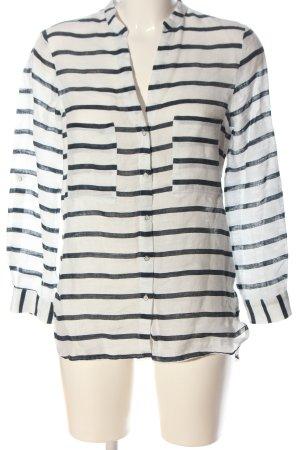 Zara Leinenbluse weiß-schwarz Streifenmuster Casual-Look