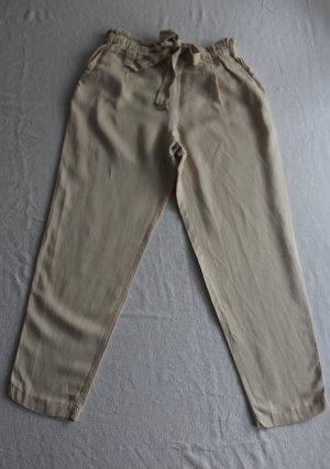 Zara Trafaluc Pantalone di lino crema-beige chiaro Lyocell
