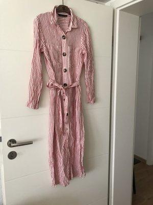 Zara Koszulowa sukienka jasnoczerwony-biały