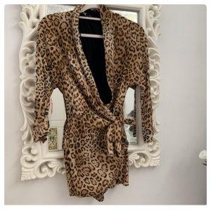 Zara Leopard Animal Print Muster Overall Einteiler Playsuit