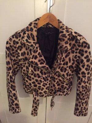 Zara leopard biker jacket