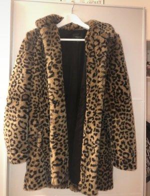 Zara Leopard Faux Fur Mantel