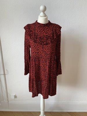 Zara Leoparden Print Kleid Rot Schwarz Größe L
