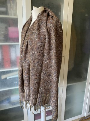 Zara Accesoires Bufanda de lana marrón oscuro-marrón claro
