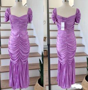 Zara Lilac Draped Satin Dress pink midi long embroidered ruffled ruched New