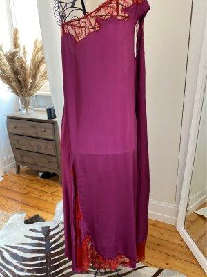Zara Vestido strapless púrpura-rojo ladrillo