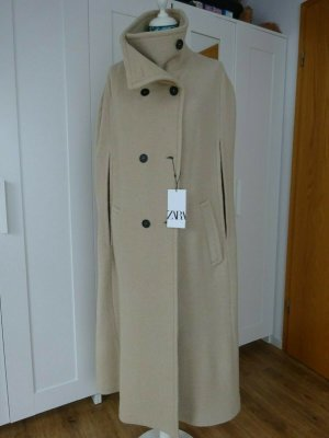 Zara Limited Edition Maxi Cape Wolle beige NEU