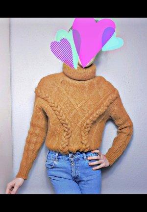 Zara limited Mohair Pullover, oversized Zopfmuster senfgelber Pullover