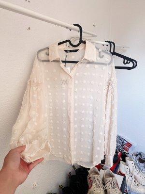 Zara lockere transparente Bluse mit Bommeln weiß beige creme NEU