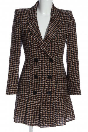 Zara Lange blazer zwart-bruin geruite print casual uitstraling