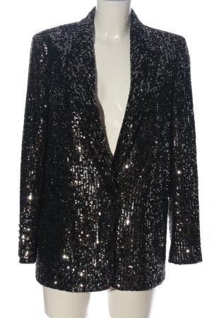 Zara Long-Blazer schwarz-silberfarben extravaganter Stil