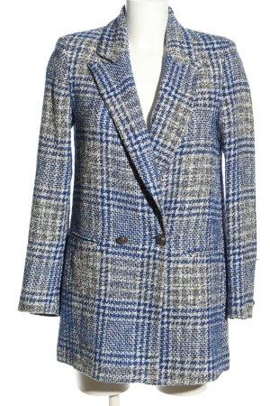 Zara Long-Blazer blau-hellgrau Karomuster Business-Look