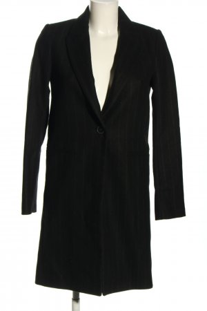Zara Fleece Coats black-natural white striped pattern casual look