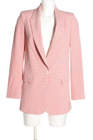 Zara Long-Blazer pink-weiß Karomuster Casual-Look