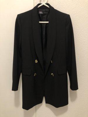 Zara (Long) Blazer in schwarz mit goldenen Knöpfen