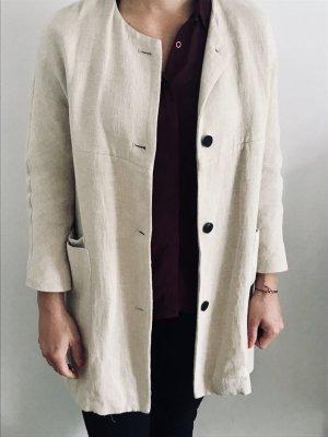Zara Long Blazer Leinen Baumwolle Beige S Jacke