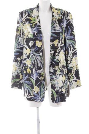 Zara Long-Blazer schwarz Blumenmuster Casual-Look