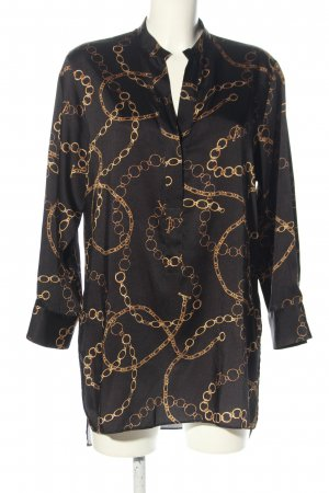Zara Long-Bluse hellgrau-braun Allover-Druck Business-Look