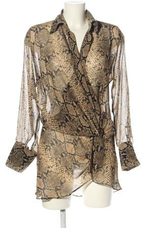 Zara Long-Bluse braun Allover-Druck extravaganter Stil