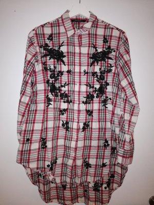 Zara Basic Geruite blouse zwart-baksteenrood Katoen