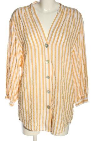 Zara Long-Bluse blassgelb-weiß Allover-Druck Casual-Look