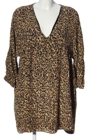 Zara Blouse longue blanc cassé-brun motif léopard style décontracté