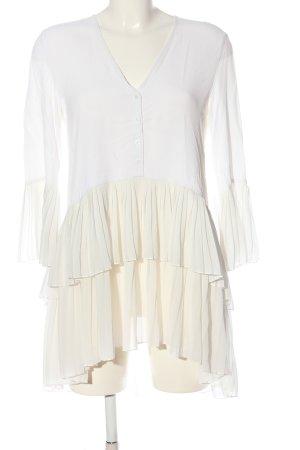 Zara Long-Bluse weiß-creme Casual-Look