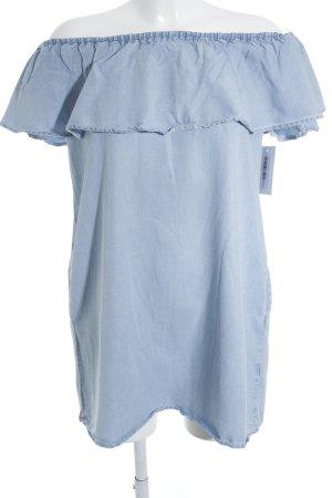 Zara Long-Bluse himmelblau Jeans-Optik