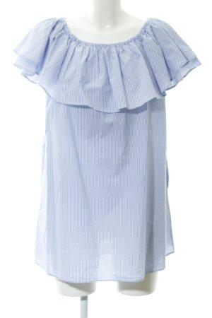 Zara Long-Bluse himmelblau-weiß Streifenmuster