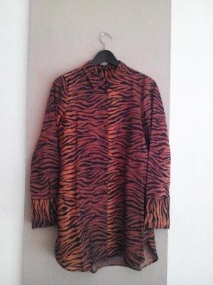 Zara Long-Bluse in Animalprint aus 100% Baumwolle, Größe S