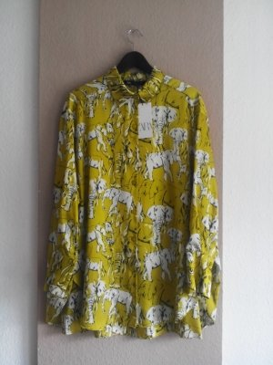 Zara Long-Bluse in limettengelb mit Elefanten, Größe M oversize, neu