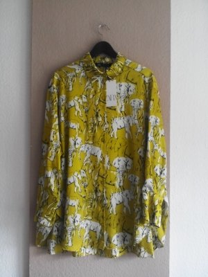 Zara Long-Bluse in limettengelb mit Elefanten, Größe S oversize