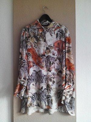 Zara Long-Bluse mit wildem Muster, Größe L, neu