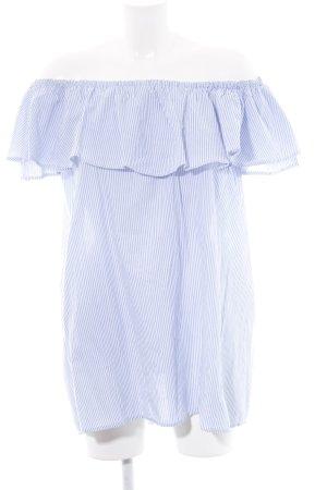 Zara Long-Bluse weiß-blau Streifenmuster Casual-Look