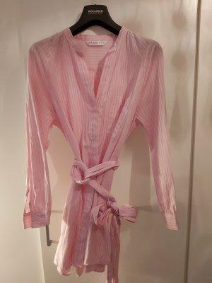 Zara Basic Camicetta lunga bianco-rosa chiaro Cotone