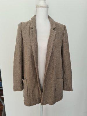 Zara Longblazer lange Jacke Überzieher Blazer Cardigan Gr. S hell braun