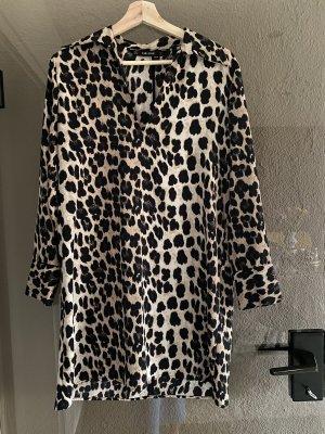 Zara Lange blouse zwart-bruin