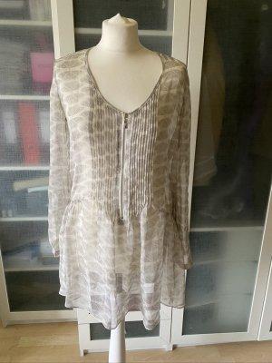Zara Camicetta lunga bianco sporco-crema Cotone