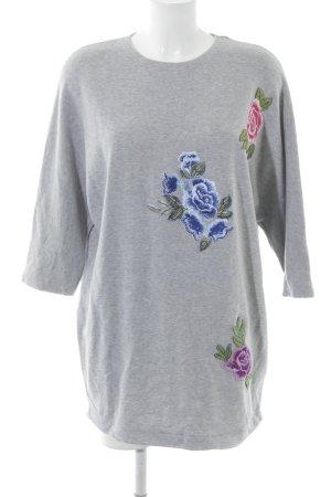 Zara Longpullover hellgrau florales Muster Casual-Look