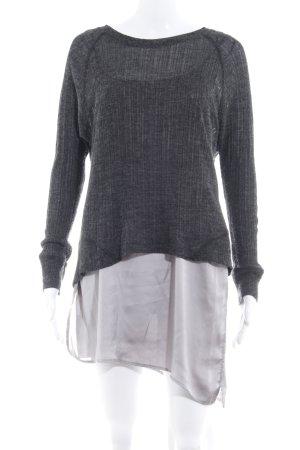 Zara Longpullover silberfarben-dunkelgrau Casual-Look